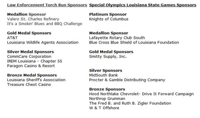 SOLA's Outstanding Sponsors
