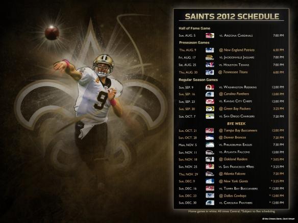 2012 New Orleans Saints Season Schedule