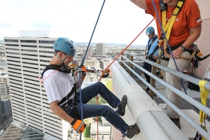 Donnie Guillory rappelling Over the Edge