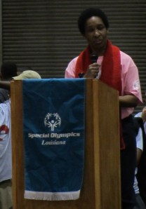 Loretta Claiborne speaking at SOLA's 2012 State Indoor Games