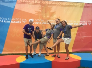 Golf goofing off on medal stands