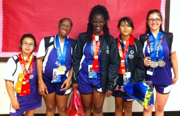 Some of athletics girls with awards