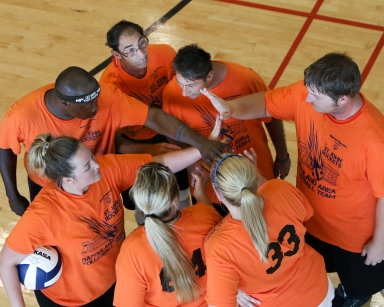 Vball team huddle