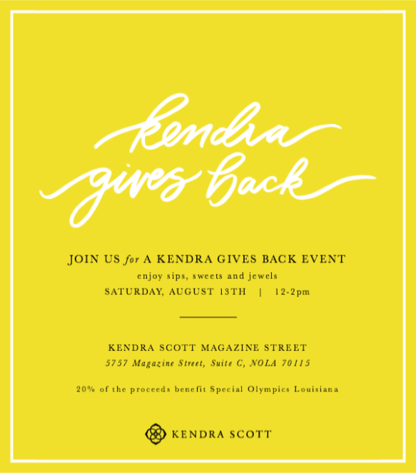 Kendra Gives Back invitation